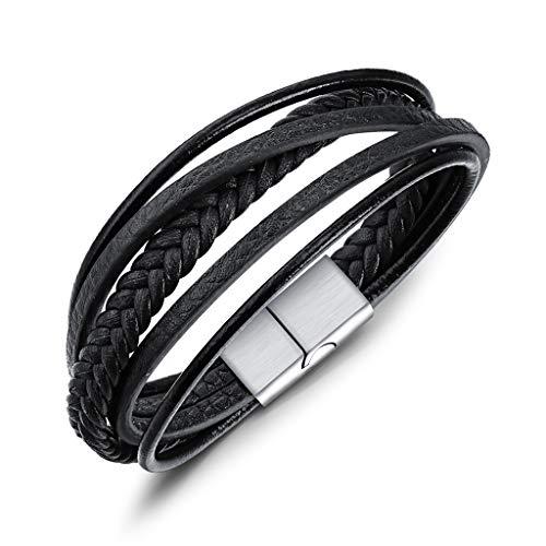 Meerlaagse armband met magneetsluiting van rundleer voor heren.
