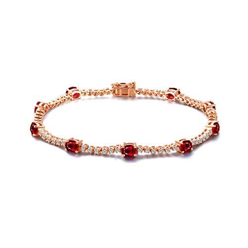Daesar Pulsera Oro Rosa 18K Mujer 16.5 CM Rubí 3.2 ct Diamante Pulsera Oro Rosa Mujer