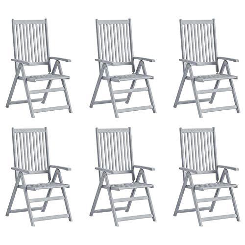 Festnight Juego de 4 sillas de Jardín de Madera Plegables Gris