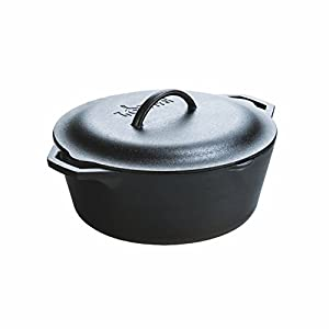 One Lodge Pre-Seasoned 7 Quart Cast Iron Dutch Oven Loop handles for secure control Cast iron cover features self-basting tips Unparalleled heat retention and even heating Pre-seasoned with 100% natural vegetable oil Use to sear, sauté, simmer, bake,...