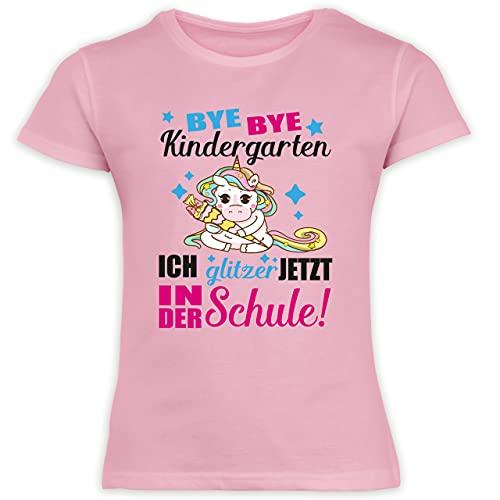 Schulkind Einschulung und Schulanfang - Ich glitzer jetzt in der Schule Einhorn mit Schultüte - fuchsia - 128 (7/8 Jahre) - Rosa - kleider für schule - F131K Schulanfang - Schulanfang Mädchen
