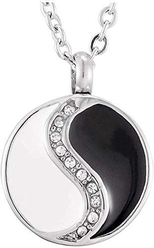 TYBM Collares para Mujer Collar Unisex De Cristal para Hombres Y Mujeres Gossip Joyería Colgante De Recuerdo De Cremación En Blanco Y Negro