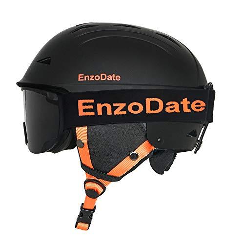 EnzoDate Ski Snowboard Helm und passende Wintersportbrille Set Snowmobil Protective Anti-Nebel Winddichte Sonnenbrille