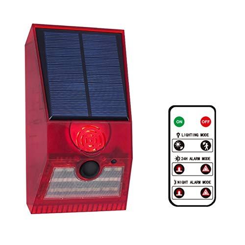 Kaxofang Luz de Alarma Solar, Luz EstroboscóPica Solar con Detector de Movimiento Luz de Alarma Solar, Detector de Movimiento con Control Remoto Rojo