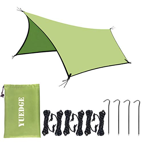 YUEDGE Portable Waterproof Tarps Rain Fly 10×13 Ft Hammock Tent Tarp Rain Tarps Shelter Sunshade with Rope and Stakes for Hiking, Backpacking & Travel