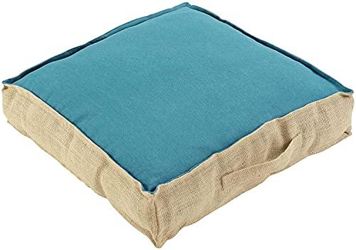 TIENDA EURASIA® Cojines de Suelo - 100% Algodón y Yute - 45 x 45 x 10 cm - Ideal para sillas, Bancos, palets, Suelos - Uso Interior y Exterior (Turquesa)