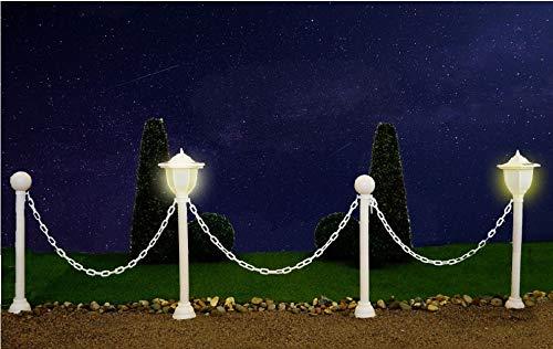 Solargartenleuchten mit 4 Pfosten und Kette - Weg-Begrenzung Beet-Einfassung Teich-Begranzung Farbe weiß