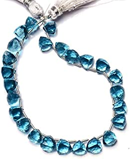 Swiss Blue Topaz Color Hydro Quartz Faceted 8MM Approx. 3D Trillion Shape Briolettes Beads 8 Inch Full Strand Super Fine Quality Beads