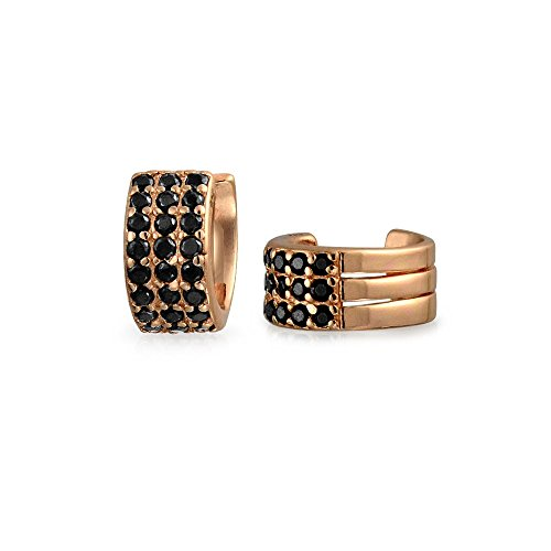 Black Cubic Zirconia Pave CZ 3 Band Cartilage Ear Cuffs Clip Wrap Helix Earrings Rose Gold Plated Sterling Silver