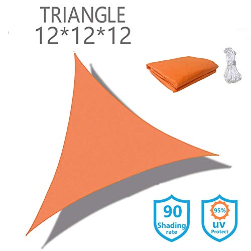 Sunnykud Triangle 12'x12'x12'Orange Waterproof Sun Shade Sail Triangle Canopy Perfect for Outdoor Garden Patio Permeable UV Block Fabric Durable Outdoor