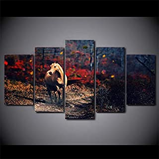 WSJXY 5 Canvas Paintings Framed Wall Art Modular Poster Home Decor Living Room Pictures 5 Panel Alone Horse Wasteland HD Printed Modern Canvas Painting
