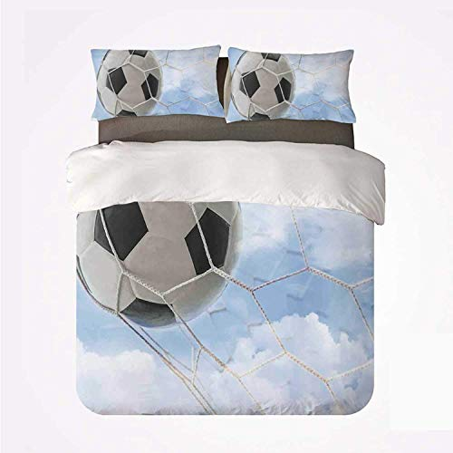 Popun Duvet Cover Set Sports Decor Nice 3 Bedding Set,Soccer Ball in Goal with Cloudy Sky Summertime Outdoor Activities Sporting for livingroom
