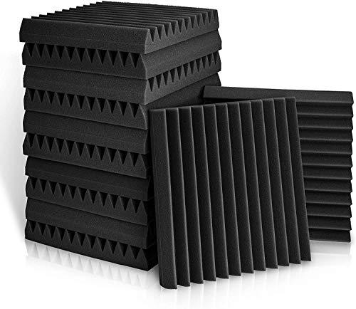遮音材 吸音対策 消音マット 防音 壁 吸音材 マイク 音吸収スポンジ 吸音材質ポリウレタン 壁スポンジパネル カーオーディオ、コンピューター 音楽ルーム 黑 30*30*2.5cm 96枚入り