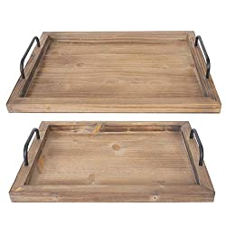 RUSTIC wood trays with handles
