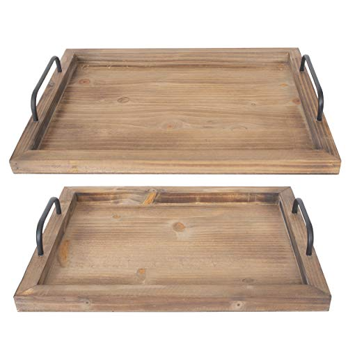 Besti Rustic Vintage Food Serving Trays (Set of 2) | Nesting Wooden Board with Metal Handles | Stylish Farmhouse Decor Serving Platters | Large: 15 x2 x11' - Small: 13 x2 x9' inches (Rustic Burnt)