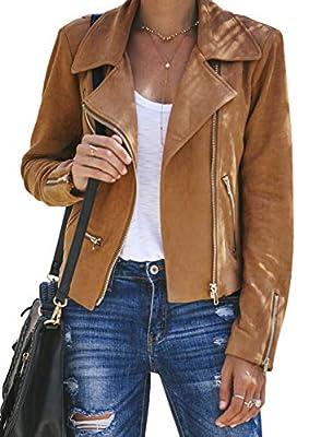 Blibea Women's Jackets Suede Zip Up Motorcycle Short Moto Biker Outwear Fitted Slim Coat Small Brown