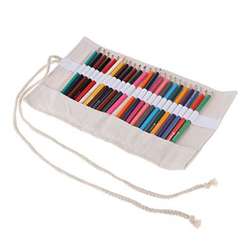 Baoblaze Trousse de Maquillage pour Pinceaux de Maquillage Portable Sac à Crayon Toile Rouleau avec 24 Pièces Stylo 34x21cm