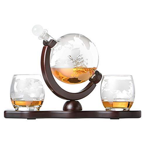 polar-effekt Whiskyset Glas-Karaffe Globus Segelschiff mit gravierter Weltkarte, 2 Whiskygläser - Flasche mit luftdichtem Verschluss, Tumbler Gläser - Decanter 850ml Geschenkidee