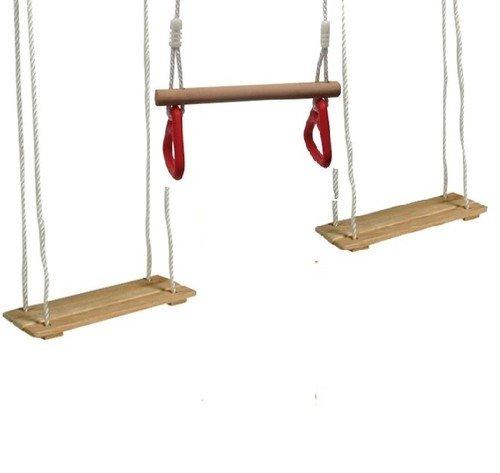 Equilibre et Aventure Kit Plein air portique : 2 balançoires rectangulaires en Bois + 1 trapèze à Deux poignées pour Tout portique standart, Longueur des Cordes règlables