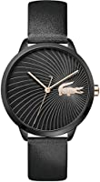 Lacoste Women'S Black Dial Black Leather Watch - 2001069