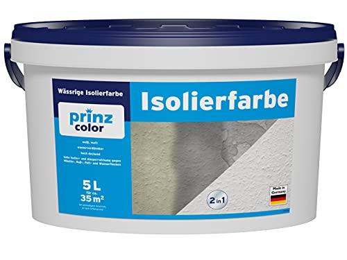 prinzcolor Premium Isolierfarbe Aqua Nikotinsperre Deckfarbe weis Weiß 5l