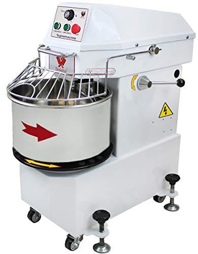 Beeketal 'BTK40' Profi Teigknetmaschine 40l auf Rollen, mit Spiralkneter und rotierender Schüssel (Knethaken 100 oder 156 U/min, Schüssel 12 oder 18 U/min), 40l Gesamtvolumen für max. 16 kg Mehl