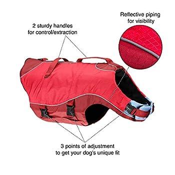 Kurgo Gilet de sauvetage aquatique Surf n 'Turf pour chien, Veste de sécurité gonflable pour chiens, pour toutes les activités nautiques, Réfléchissant, Réglable, rouge, Taille S