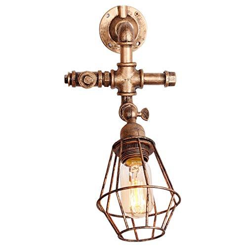 * Wandlamp wandbuis Industrial Steampunk wandlamp epoca waterslang met lampenkap metalen kooi (kleur: goud)