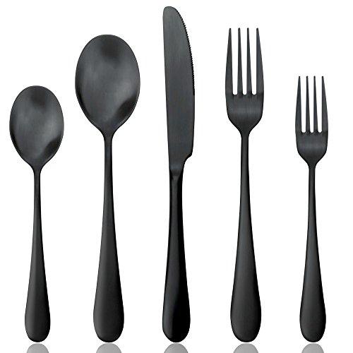 AOOSY Set di Posate Nero Opaco, Set di Posate Set di Posate in Acciaio Inossidabile 18/10 Massiccio 20 Pezzi 18 coltelli da tavola Forchette Cucchiai (4 Set)