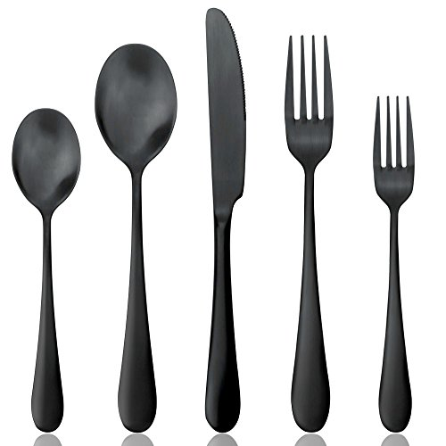 Flatware Black, Aoosy 20-Piece Set Matte Black Pated Stainless Dinnerware sets, Service for 4