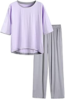 Image of Amazingly Soft Gray and Purple Half Sleeve Bamboo Pajamas for Women - See More Colors