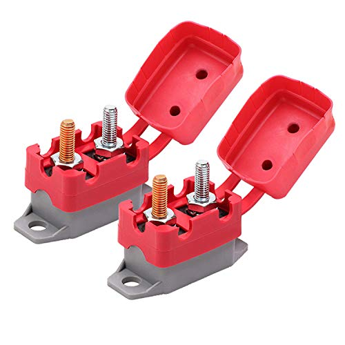Ampper DC 12V - 24V Automatic Reset Circuit Breaker with Cover Stud Bolt for Automotive and More (50A, 2Pcs)