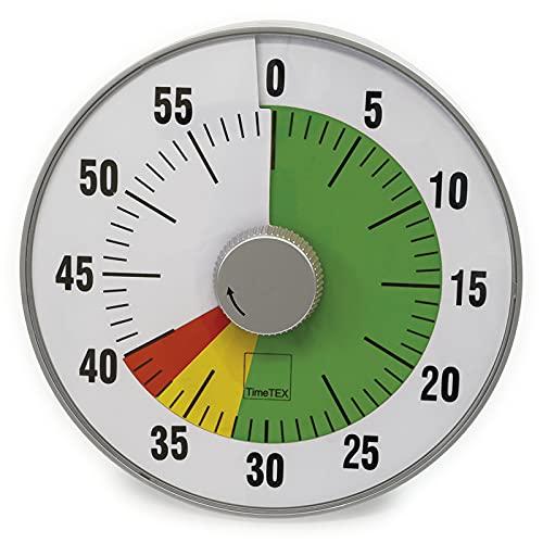 """TimeTEX Zeitdauer-Uhr\""""lautlos\"""" - mit Quarz-Laufwerk - Restzeit-Anzeige in rot/gelb/grün - mit Ablauf-Signal - 190 mm im Durchmesser - mit Batterien - 61929"""