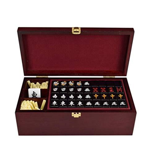 DFJU Conjunto de jogos Mahjong, Acrílico Japonês Mahjong Preto Personalidade Doméstica Portátil Entretenimento Lazer Brinquedo Educacional com Caixa de Armazenamento de Madeira