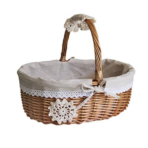 DOITOOL Cesta de mimbre de picnic con asas plegables de mimbre para pícnic de sauce, cesta de pícnic, juguete de baño y almacenamiento de juguetes para niños (gris caqui talla L)