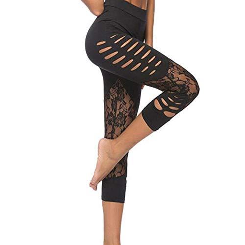 VJGOAL Moda Casual de Verano de Las Mujeres Sexy Costura de Encaje Hueco Pantalones de Yoga Correr Pilates Fitness Pantalones Elasticidad Transpirable Pantalones de chándal Leggings
