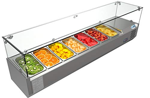 KoolMore Refrigerated Countertop Condiment Prep Station with Glass Sneeze Guard - Includes Seven 1/4 Pans