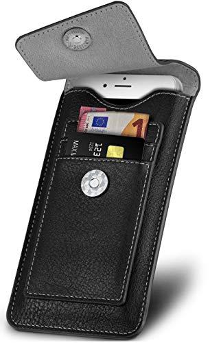ONEFLOW Elegante funda con ranuras para tarjetas + cierre magnético compatible con BQ Aquaris X5 Plus | Protección 360 grados, incluye trabilla para cinturón y mosquetón, color negro