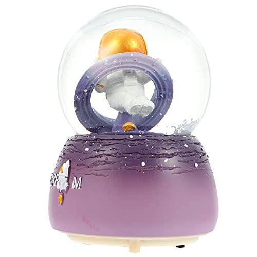 GARNECK Bola de Cristal Caja de Música Espacio Astronauta Tema Luminoso Cajas Musicales Figurita Mesa Luz de Noche para Niños Habitación de Niños Decoración ( Púrpura )