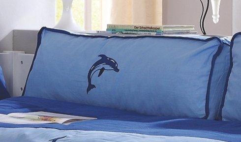 Froschkönig24 Seitenkissen Kissen Kinderkissen für Spielbett Hochbett Etagenbett Blau/Delfin