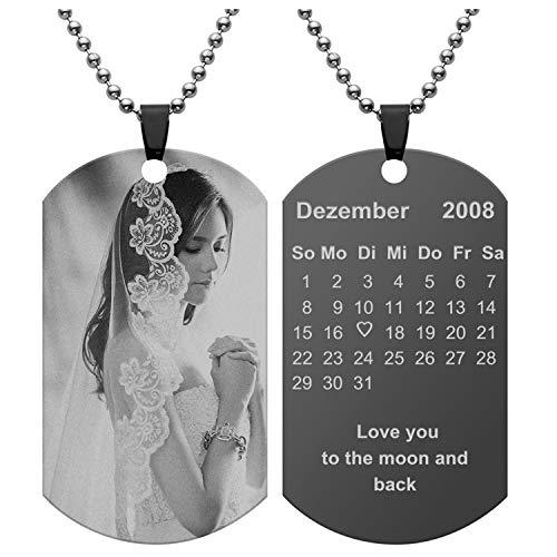 JSDDE Schmuck Gravur Personalized Edelstahl Dog Tag Anhänger mit Fotogravur Textgravur Memorial Kalender Foto ID-Tag Halskette Geschenk Souvenir