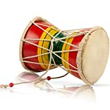 Handmade Wooden & Leather Classical Indian Folk Dumroo Damroo Damaru Hand Drum Set Percussion Decorative Collectible Showpiece World Musical Instruments Fun For Adults Kids Babies Birthday Gift