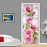 FLFK 3D Circle Rose Flower Self-Adhesive Door Wallpaper Murals Wall Stickers -Peel and Stick Door Poster for Home Decoration Vinyl Removable Art Decal