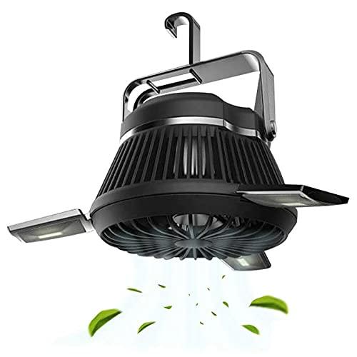 Camping-Fan mit LED-Licht, tragbarer Zeltlüfter mit hängendem Haken Solar Camping Fan mit LED-Laterne Wiederaufladbare USB-Schreibtischventilator Home Office Zelt Auto Notfall