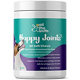 All The Sniffs | HAPPY JOINTS | Dog Joint & Mobility Health Supplement | Hip & Joint Relief For Pain, Aches & Arthritis | Glucosamine & Chondroitin