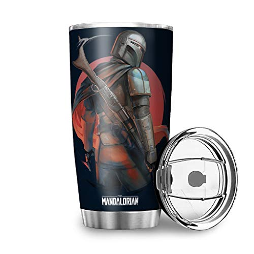 Mandalorian Bounty Hunter Logo Tumbler with Splash-Proof Lid Travel Mug Vacuum Insulated Beautiful Cup for Hiking Hot Or Cold Drinks White 20oz