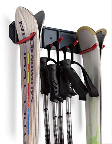 Wall Mounted Rack Organizer for Skis and Poles Heavy Duty Horizontal Wall Ski Rack Garage Storage with Metal Frame and Padded Hooks Indoors Outdoors Premium Wall Hooks
