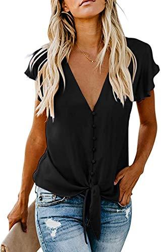 FIYOTE Oberteile Damen Bluse Elegant Hemdbluse Button Down Shirts Lose Casual Langarm Tunika Tops mit Brusttaschen schwarz S