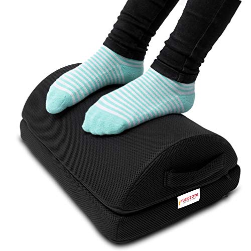 FUSSZONE Fußkissen für Homeoffice. Fußhocker, Fußstütze unter Tisch, Fußbank Arbeitsplatz verstellbar und rutschfest mit 2 Kissen (Schwarz)