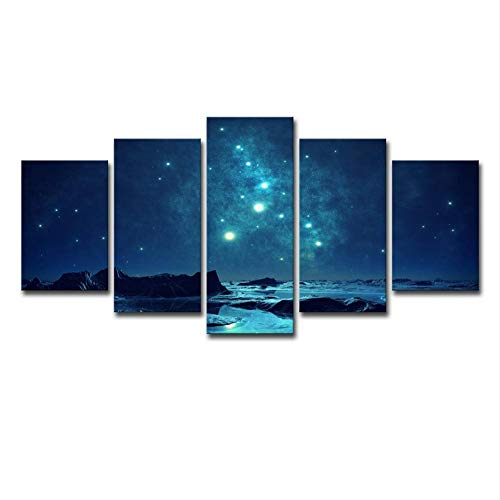 """WLWIN Bild 150x80 cm/59.1\""""x31.5\"""",4 Größen erhältlich,Bild auf Leinwand fertig gerahmte Bilder 5 Teile,Kunstdrucke, Wandbilder ,Leinwandbilder,Geschenke, Geheimnisvoller Sternenhimmel"""